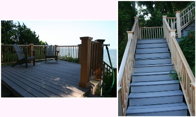 Dramatic Views From This 4 Story Composite Deck With Clear Cedar Railing  And Privacy Screen. Large Upper Platform On Top Of Bluff With Stairs To  Lower ...